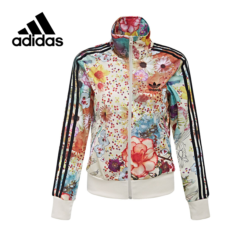 Original Official Adidas Women's Jacket Breathable Stand Collar Leisure Sportswear Flower Trainning Exercise Brand Designer rose print voile splicing stand collar zip up jacket
