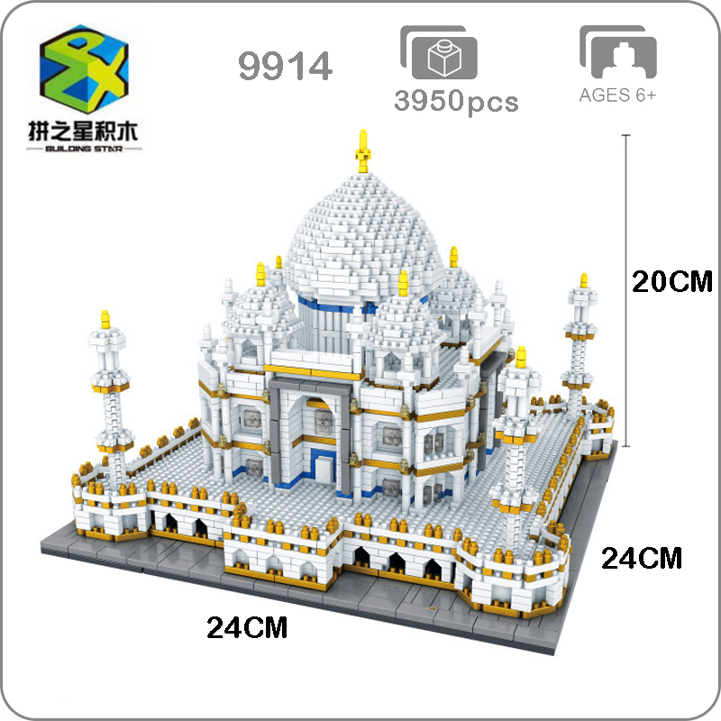BS 9914 World Famous Architecture India Taj Mahal Palace 3D Model Diamond Mini DIY Building Nano Blocks Toy for Children no Box