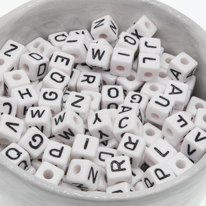 100Pcs 10mm Letter Beads Random Mixed Cubic Acrylic Beads White Alphabet Beads 10mm faceted beads For DIY Necklace(China)