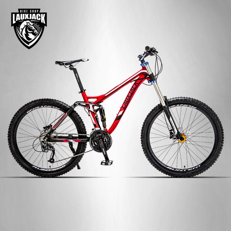 Cadre aluminium vélo double face LAUXJACK Mountain 26 roues 24/27 vitesses Shimano freins à disque hydrauliques/mécaniques