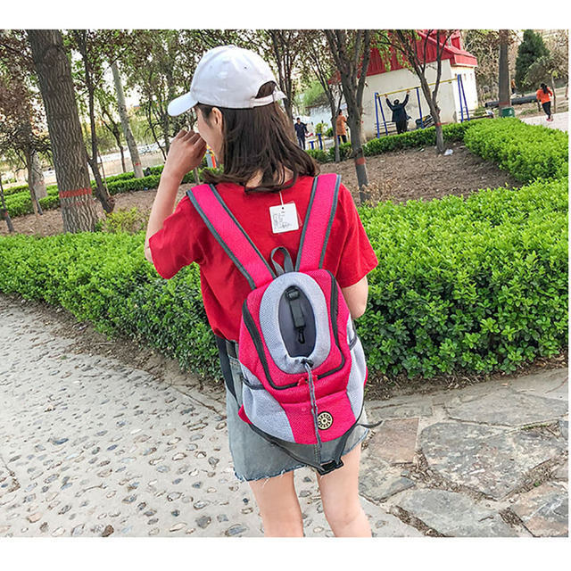 Outdoor Pet Dog Cat Carrier Bag Front Bag Double Shoulder Portable Travel Backpack Mesh Head
