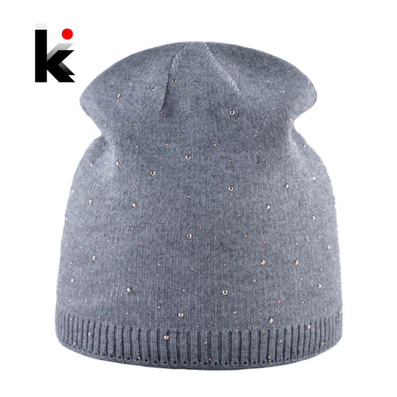 Women's Beanie Hats Autumn Winter Knitted Rhinestone Caps Women Fashion Knitting Wool Skullies Bonnet Solid Casual Female Gorro