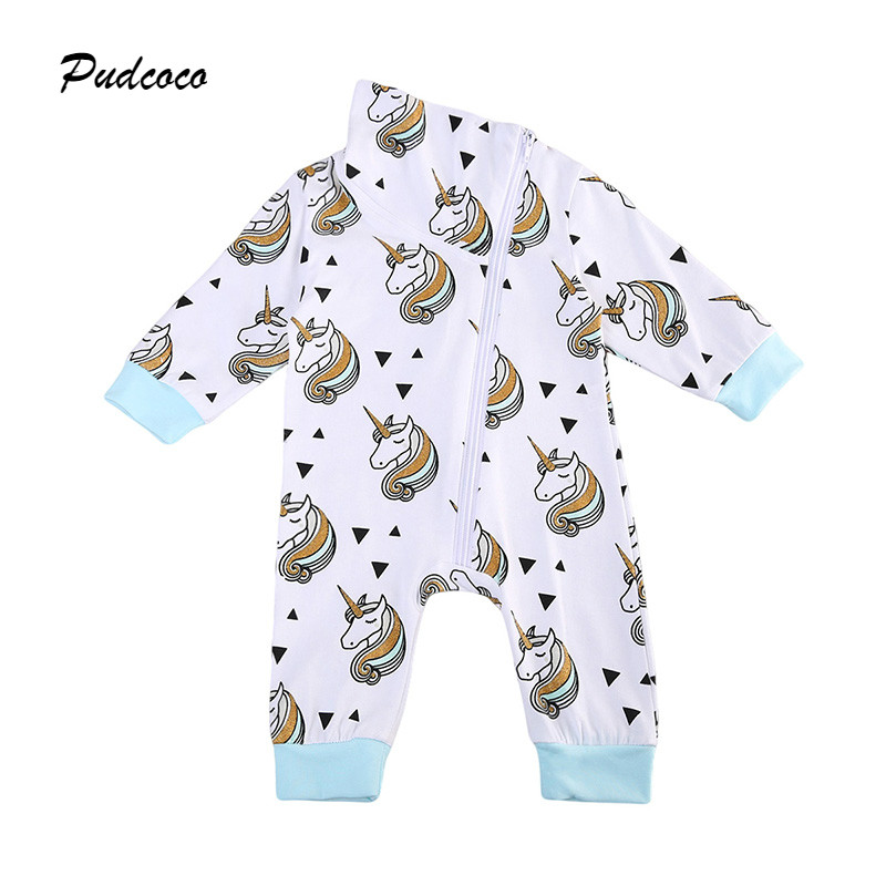 0-18M Newborn Baby Unicorn Romper Long Sleeve Zipper Cartoon Clothes Toddler Kids Boy Girl Jumpsuit Playsuit Outfits блюдо лодочка 26 15 5 6 см 600 мл маки 1133445