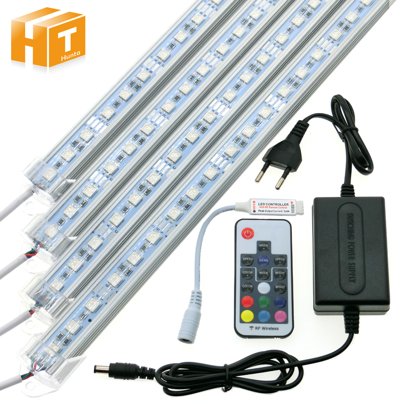 RGB LED Bar Light Set 12V 5050 RGB Rigid LED Strip + 17Key RF RGB Remote Controller + Power Adapter.
