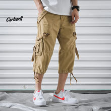 Мужские шорты с несколькими карманами, летние свободные Бриджи на молнии, цвет хаки, серый, размера плюс, короткие штаны, повседневные хлопковые черные длинные мужские шорты Карго