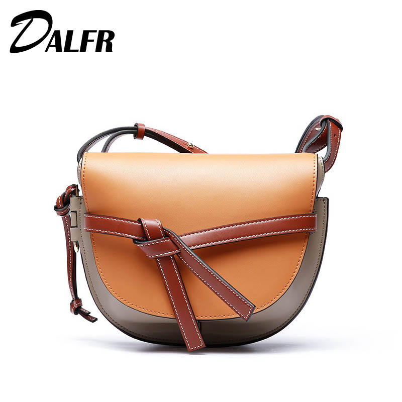 Luxury Women Shoulder Bag Genuine Leather Saddle Bags Ladies Crossbody Bags Classic Messenger Bag Bolsa Feminina купить в Москве 2019