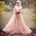 Muslim Evening Dress 2017 vestidos de festa A line Pink Tulle Appliques Women Formal Gowns Long Sleeves Hijab Evening Dresses