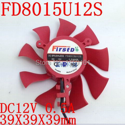 Gratis frakt Firstd FD8015U12S DC BRUSHLESS FAN 12V 0.5A 75mm 39x39x39mm Grafikkort / Video Card Fan 2Pin
