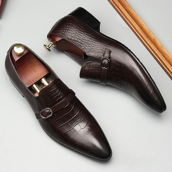 OMDE Crocodile Pattern Genuine Leather Loafers Pointed Toe Formal Shoes Men Dress Shoes Buckle Straps Office Wedding Shoes c g n p casual shoes men genuine leather loafers handmade office formal wedding shoes men dress shoes slip on mens loafer shoes