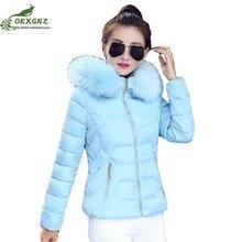 Autumn winter short Down cotton Outerwear women warm jacket coat women hair collar large size thickening coat clothing OKXGNZ