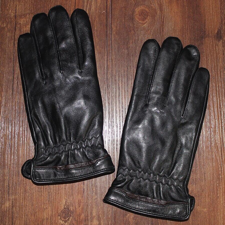 Mens velvet gloves - Autumn And Winter Men S Velvet Genuine Leather Gloves Male Sheepskin Gloves Thermal Winter Classic Black Thicken