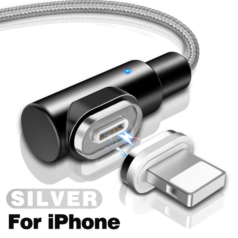 GETIHU 2.4A Быстрый Магнитный кабель для iPhone XS X XR 7 Micro USB быстрое зарядное устройство Тип C магнит Android шнур телефонный кабель для samsung - Цвет: For iPhone Silver