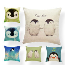 Penguin Cushion Covers Cartoon Hand Painted Christmas Dream Band Music Pilow For Kids Pillowslip Covers Small Burlap Colorful(China)