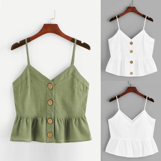2019 New Fashion Vest Solid Color Crop Top For Ladies Womens Fashion Sleeveless Solid Button Front Knot Hem Cami Tank Top