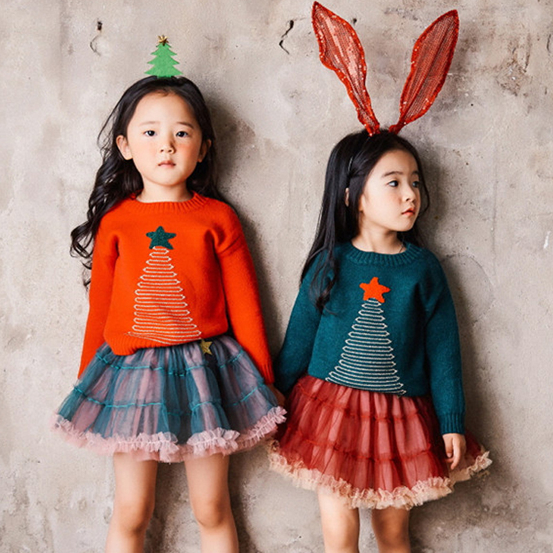 kids sweaters girls 2017 new autumn baby girl sweater chirstmas tree printed knitted winter pullover girls toddler sweater 2-7T t100 children sweater winter wool girl child cartoon thick knitted girls cardigan warm sweater long sleeve toddler cardigan