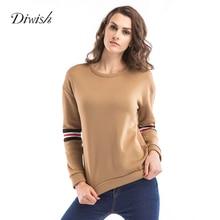 Diwish Women's Sweatshirt Casual Fashion Long Sleeve Patchwork Embroidery O-Neck Pullover 2019 Autumn Ladies Sweatshirt недорого