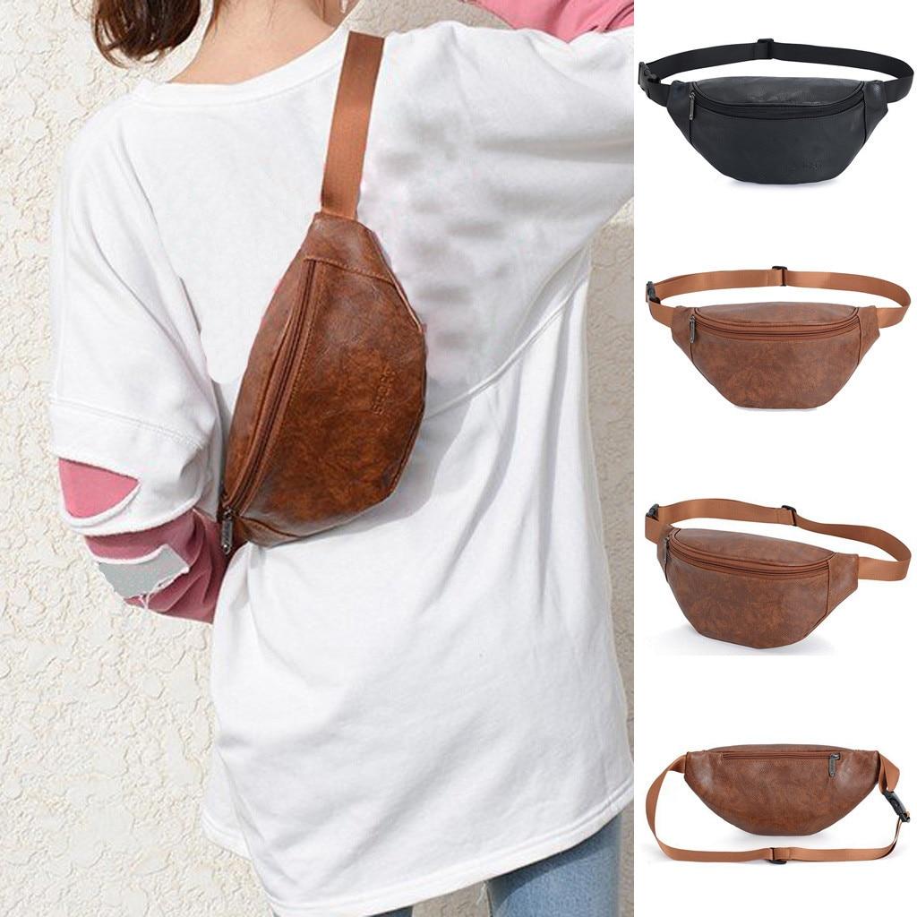 women crossbody bag Vintage Neutral Outdoor Zipper Leather Messenger Bag Sport Chest Bag Waist Bag  mochila feminina /0.7(China)