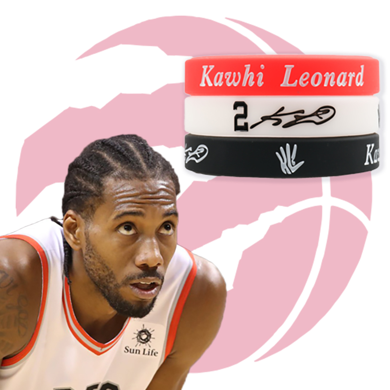 reputable site db3c9 16ade US $1.8 |Kawhi Leonard Silicone bracelet Raptors Team Softy Bracelet  Basketball player Toronto City Wristband For Adult Kids Sizes Gift-in Charm  ...