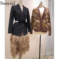 Svoryxiu Runway luxury Tiered Cake Skirts Women's High End Modern Asymmetrical Mesh Patchwork Feathers Long Skirts