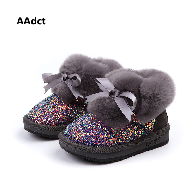 AAdct Fashion rabbit hairs now boots for glitter girls 2018 winter warm new children's boots Shinning non-slip kids boots aadct cotton warm children snow boots for glitter girls new fashion shinning short girls boots 2018 winter kids boots