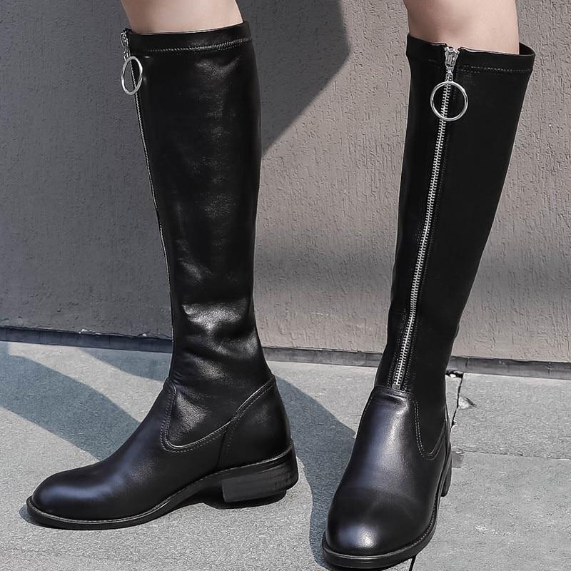6f9289a60f4ef Femelle 2018 Bas Cuir Talon Noir Chaussures Longue Femmes D hiver Ymechic  Bottes Dames Chevalier Chunky ...