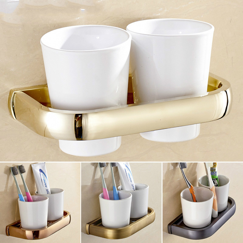 Antique Solid Brass Toothbrush Cup Rack Luxury Brushed Wall Mounted Toothbrush Ceramic Cup Holder Bathroom Accessories Sets T08