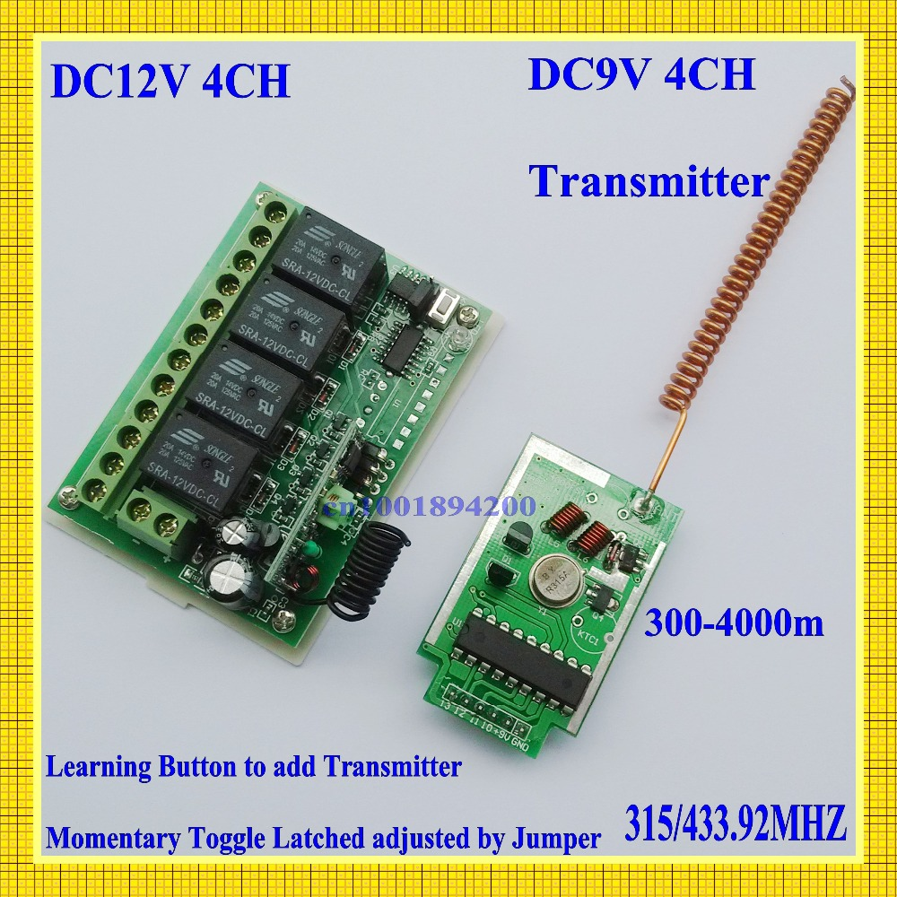 DC9V 4CH Module Émetteur Longue Portée Télécommande 300-4000 m + DC12V 4CH Relais Récepteur Apprentissage Code M T L 315/433 MHZ