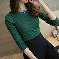 Женская Мода Свитер 2016 Новый Осень Зима Зеленый Красный Черный Grayh Топы Женщин Трикотажные Пуловеры Рубашка С Длинным Рукавом Женский Бренд