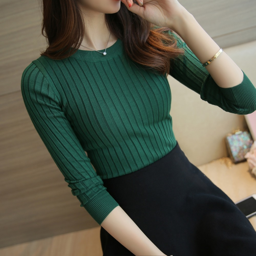 Dames Sweater Pullover 2018 Nieuw Herfst Winter Groen Rood Zwart Grijs Tops Dames Gebreide truien Lange mouw Vrouwelijk merk