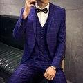 Azul Para Hombre Traje Gris Traje De Diseño Negro 2016 Trajes de Boda Para Hombres Plus 3XL Matrimonio Partido Prom Trajes A Cuadros (chaqueta + Chaleco + Pantalón)