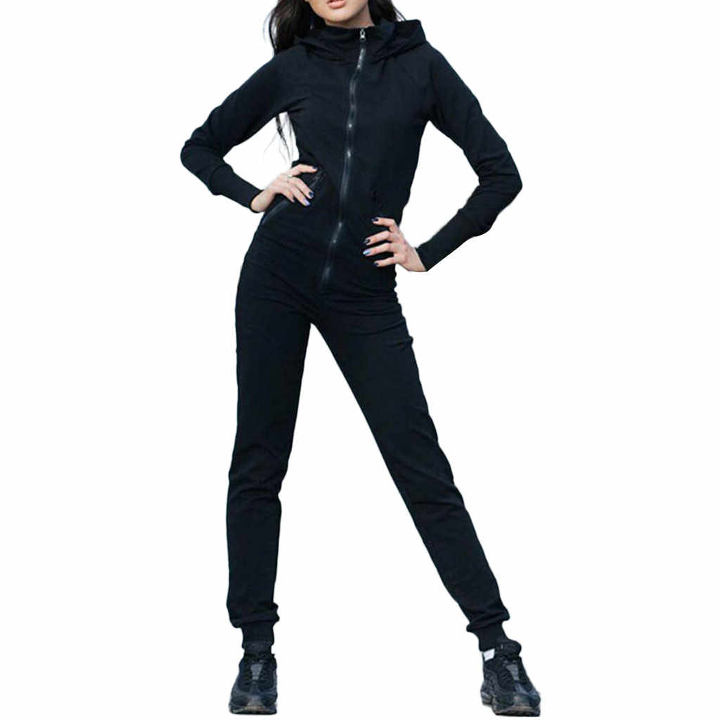 WomailWomen's jumpsuit แฟชั่น Zipper Slim Fit เสื้อกีฬาแขนยาว Rompers bodysuit plus ขนาด jumpsuits playsuit L30802