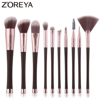 Zoreya 10pcs Synthetic Hair Makeup Brushes Eye Shadow Blusher Professional Makeup Brush Set With Plastic Handle
