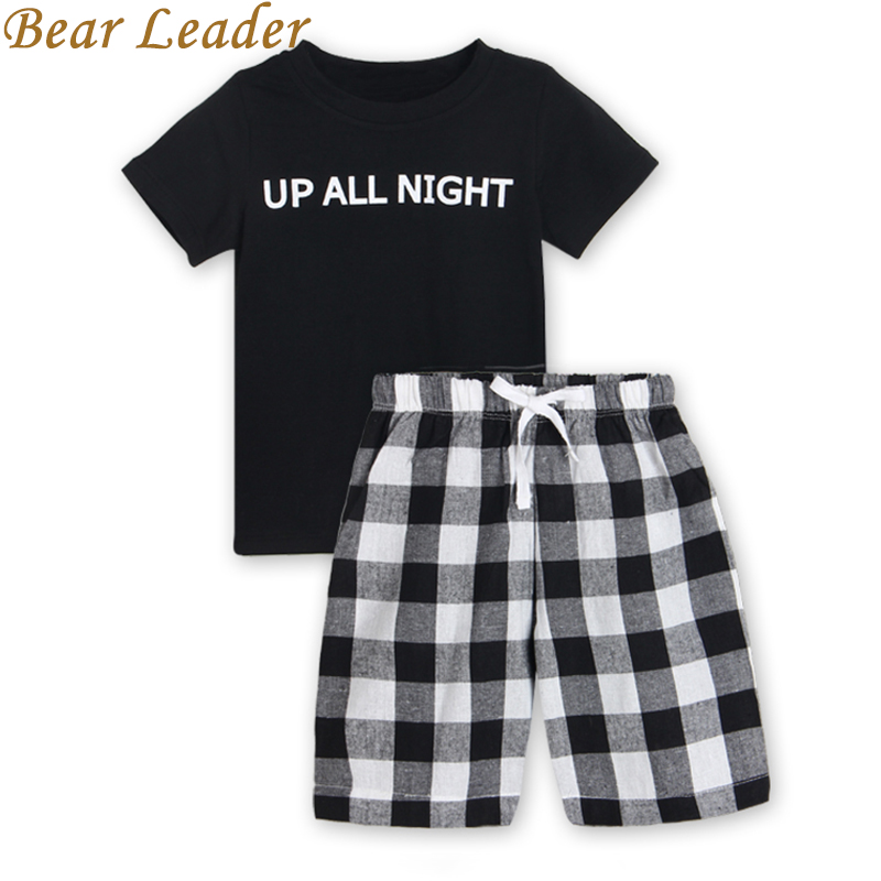 Bear Leader Boys Clothing Sets 2017 New Summer Popular Black White Letter T-Shirt + Plaid Pants Sets Hot Sale Kids 3-7Years Old metal pendant lights avize luminaire e27 220v for decor home lighting pendant lamp lustre moderne living room dining lamp