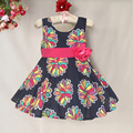 brand New Print Fashion Baby Girl Dress Floral Summer Dress casual kids Clothing with flower bow