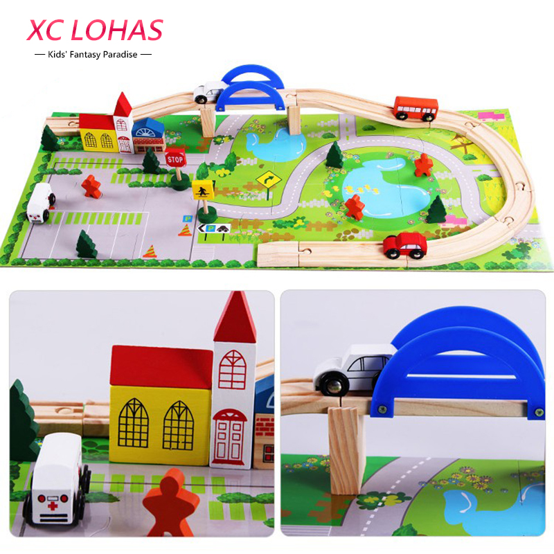 40pcs/set DIY Wooden City Train Track Building Blocks Toy  Baby Assemble Traffic Diecasts & Toy Vehicles Toys Christmas Gifts d418 thomas train track toy electric toy happy farm gift set eyes will move