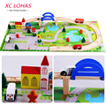40pcs/set DIY Wooden City Train Track Building Blocks Toy  Baby Assemble Traffic Diecasts & Toy Vehicles Toys Christmas Gifts