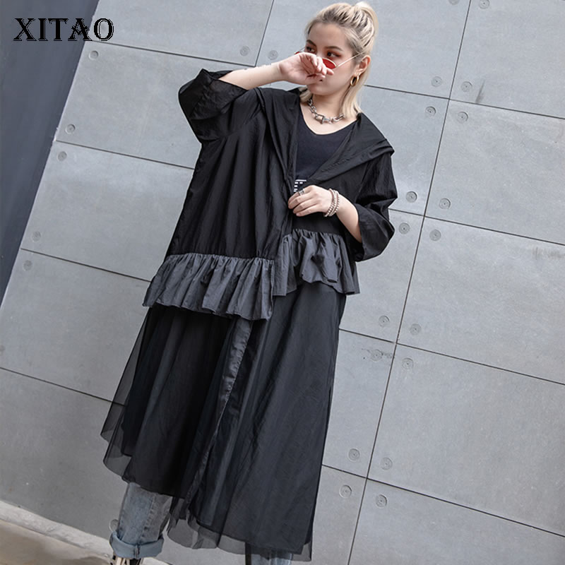 [XITAO] 2019 Summer New Fashion Hooede Collar Three Quarter Sleeve Loose Coat Female Patchwork Ruffles Open Stitch   Trench   ZQ1522