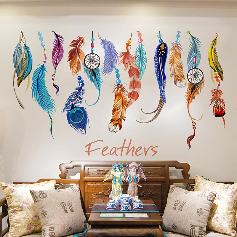 Aliexpress.com : Buy Colorful Dream Catcher Feather Wall Sticker Living  Room Decal Mural Wallpaper For Home Decor Wedding Decor Gifts IC602733 From  Reliable ...