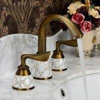 Style Bathroom Wash Basin Three Bronze Antique Retro Platform Copper Hot And Cold Faucet