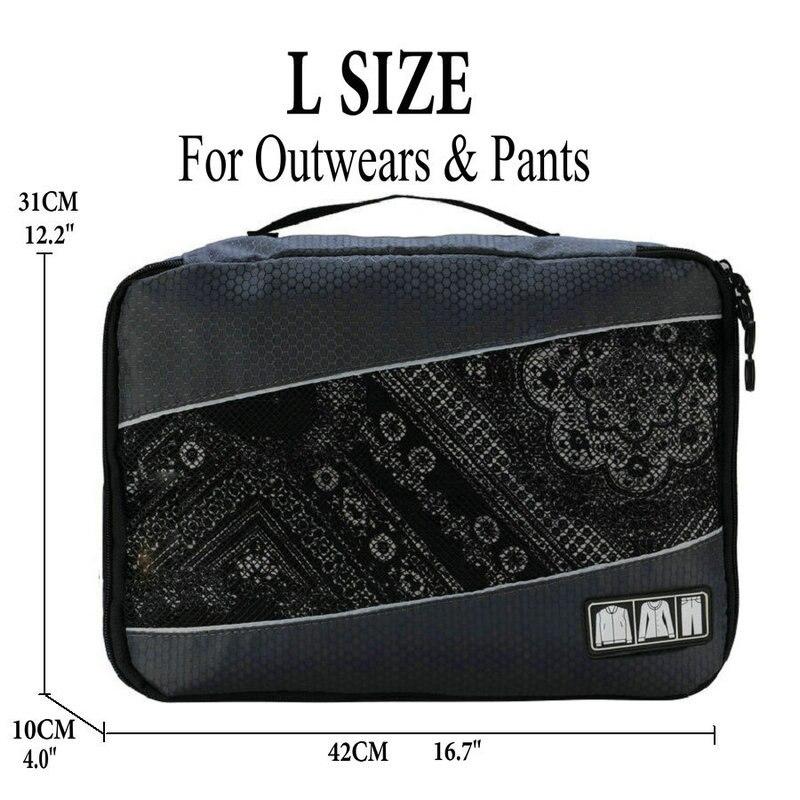 Soperwillton упаковочные кубики, нейлоновая дорожная сумка-Органайзер, Воздухопроницаемая сетчатая дорожная сумка для мужчин и женщин, органайзер для путешествий - Цвет: Gray L