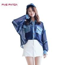 FIVE PANDA 2017 Brand Quality Chiffon Women Blouse Blusas& Inner Camis Two pieces Women's Shirt Women Tops Vintage Shirt CNCS010