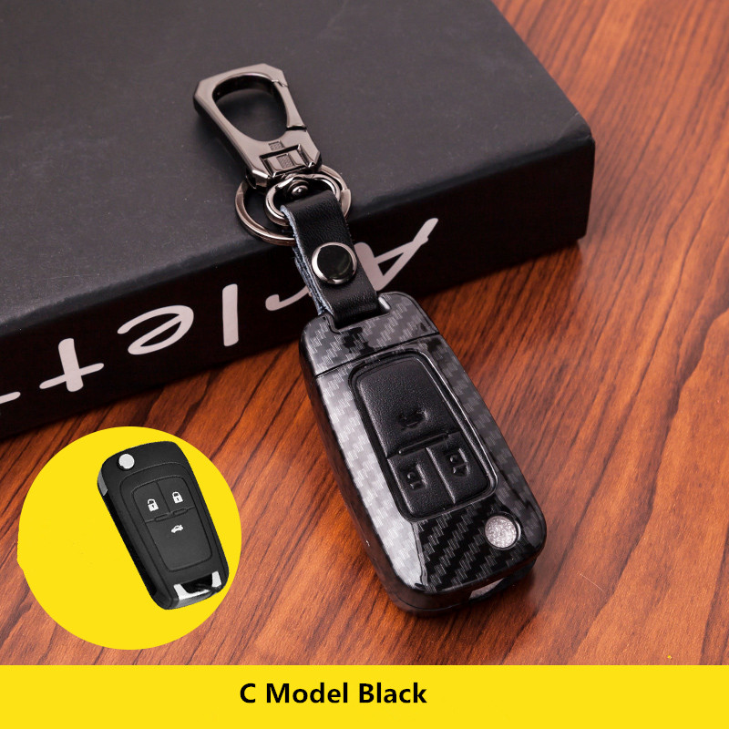 Carbon Fiber Flip Folding Remote Key Case Fob Leather Cover For Vauxhall Opel /Astra H /Corsa D /Vectra C /Zafira Chevrolet|Key Case for Car| |  - title=