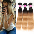 10A Grade Virgin Mink Brazilian Straight Hair Weave 3 Bundles Two Tone Human Hair 1b 27 Ombre Brazilian Virgin Hair Straight