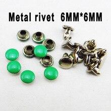 100 шт 6*6 мм зеленые металлические кнопки заклепки для шитья одежды аксессуары сумка подходит для украшения заклепки MR-035