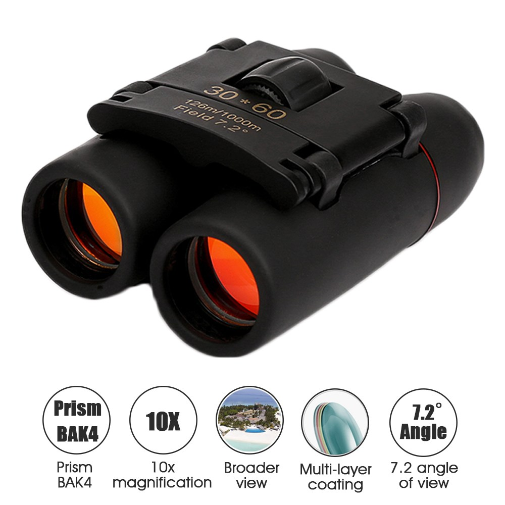 30x60 Mini Binoculars 10x BAK4 Foldable Telescope Easy toFocus 126M to1000M For Outdoor Shooting Travelling Sightseeing Hunting