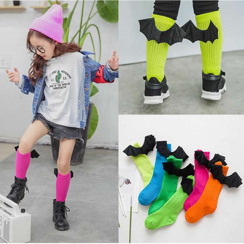 Kids Devil wings pile socks cotton girls / boy knee high socks childrens autumn / winter Pile socks