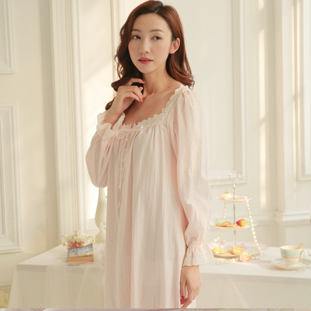 100 cotton long nightgowns for womens vintage nightdress simple style ladies sweet long sleeve sleeping dress white pink Lounge