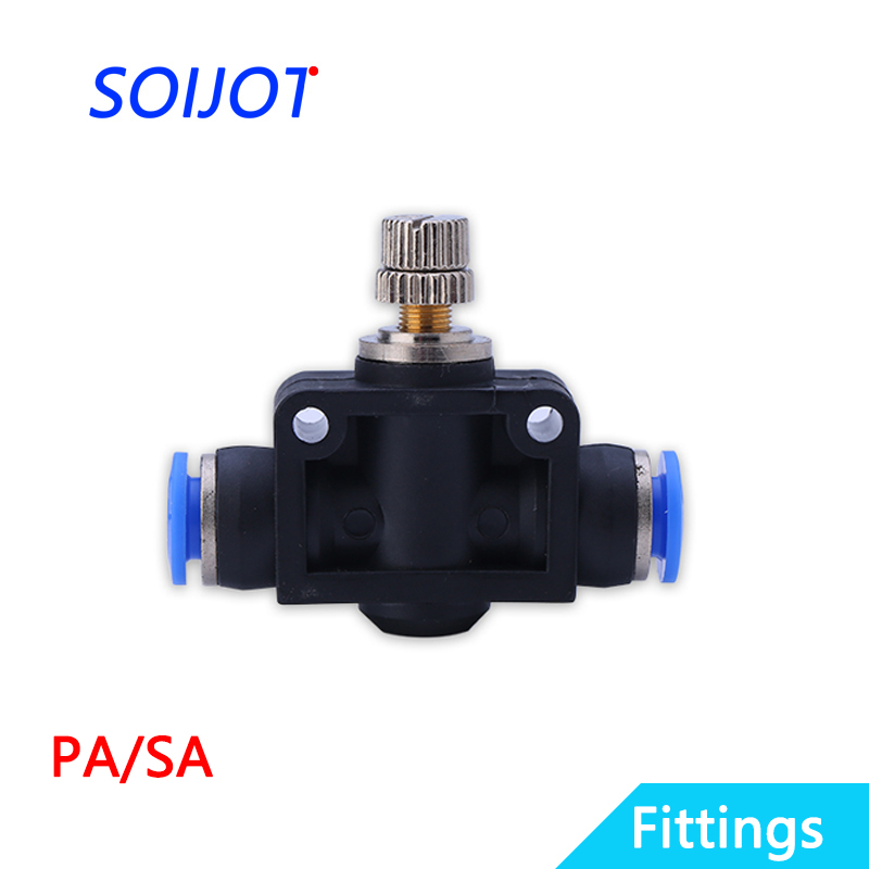 1Pc PA/SA connector manual component plastic combination direct governor throttle valve quick push tube pneumatic joint 1pcs sl6 m5 sl6 01 sl6 02 sl6 03 sl6 04 pneumatic throttle valve quick push in 6mm tube air fitting connector flow controller