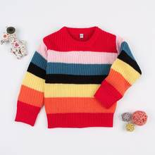 Toddler Boys Winter Sweater Rainbow Stripes Newborn Baby Girls Knit Tops Autumn Long Sleeves Infant Bebe Knitwear Kids Pullovers(China)