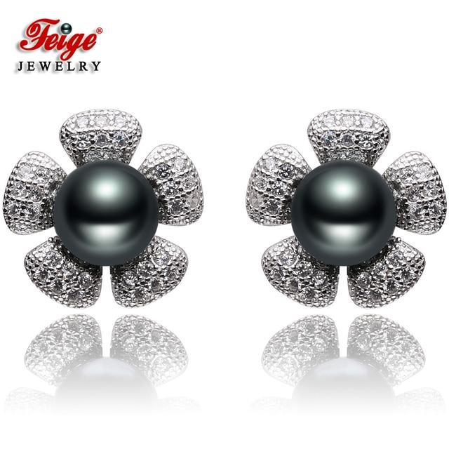 Feige Flower Shape 100 925 Sterling Silver Pearl Stud Earrings For Women S 7 8mm